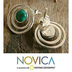 Sterling Silver 'Vibrations' Chrysocolla Button Earrings (Peru) - Thumbnail 2