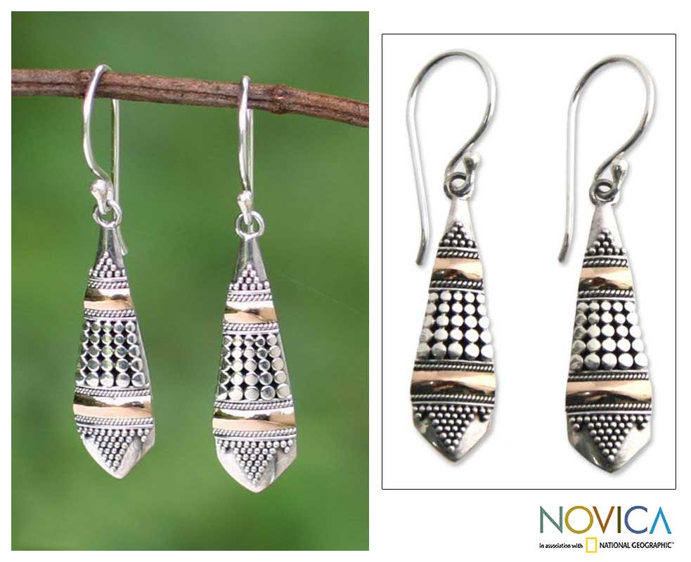 Handmade Sterling Silver 'Amaranth' Gold Accent Earrings (Indonesia)