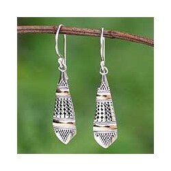 Sterling Silver 'Amaranth' Gold Accent Earrings (Indonesia)