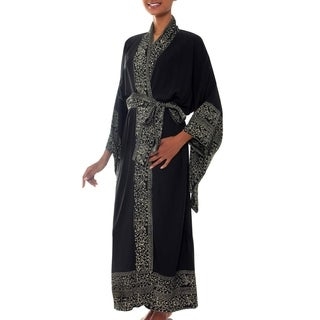 Handmade Rayon Midnight Rose Black Batik Robe (Indonesia)