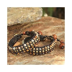 Set of 2 Brass 'Autumn's Voice' Tiger's Eye/ Jasper Bracelets (Thailand)