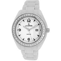 Le Chateau Unisex All White Ceramic Watch with Zirconia Studded Bezel