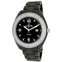 Le Chateau Unisex All Black Ceramic Watch with Zirconia Studded Bezel