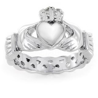 ELYA Love, Friendship, and Loyalty Celtic Claddagh Eternity Stainless Steel Ring (5 options available)