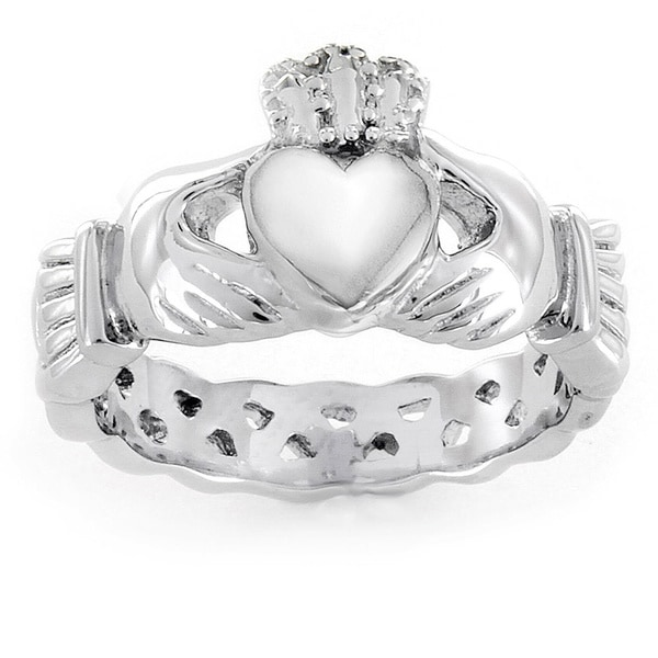 ELYA Love, Friendship, and Loyalty Celtic Claddagh Eternity Stainless Steel Ring