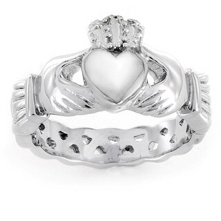 ELYA Love, Friendship, and Loyalty Celtic Claddagh Eternity Stainless Steel Ring (More options available)