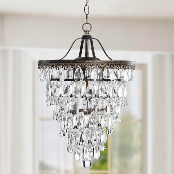 Cone Shape 4-light Antique Copper Crystal Chandelier