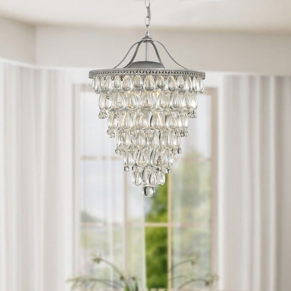 Cone Shape Matte Silver 4-light Crystal Chandelier