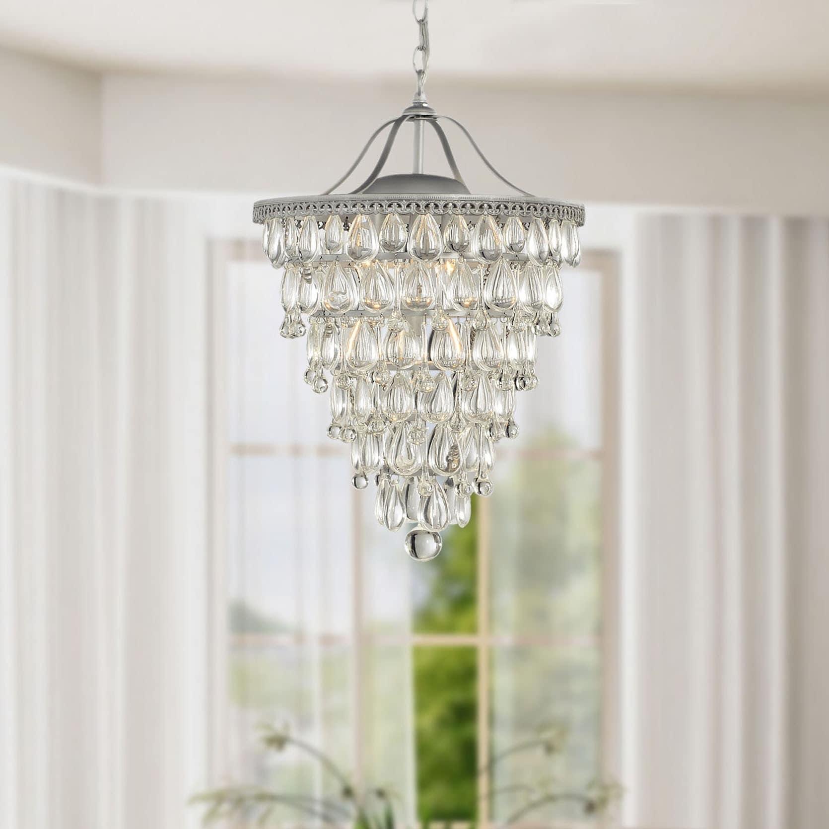 Cone Shape Matte Silver 4-light Crystal Chandelier