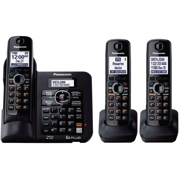 Panasonic KX-TG6643B DECT 6.0 1.90 GHz Cordless Phone - Black