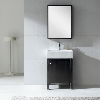 Fine Fixtures Imperial 23 Inch Wood Black/ White Bathroom Vanity and Medicine Cabinet