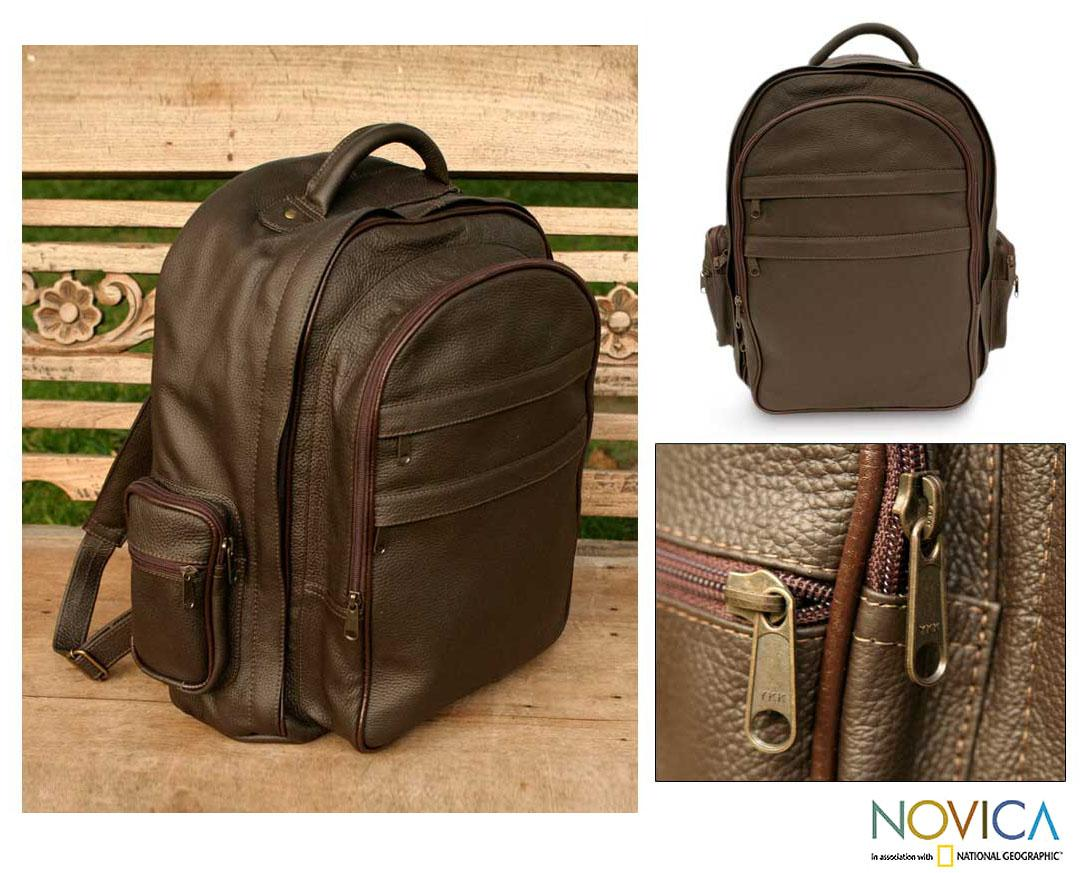 Leather 'Efficient Brown' Backpack (Brazil)
