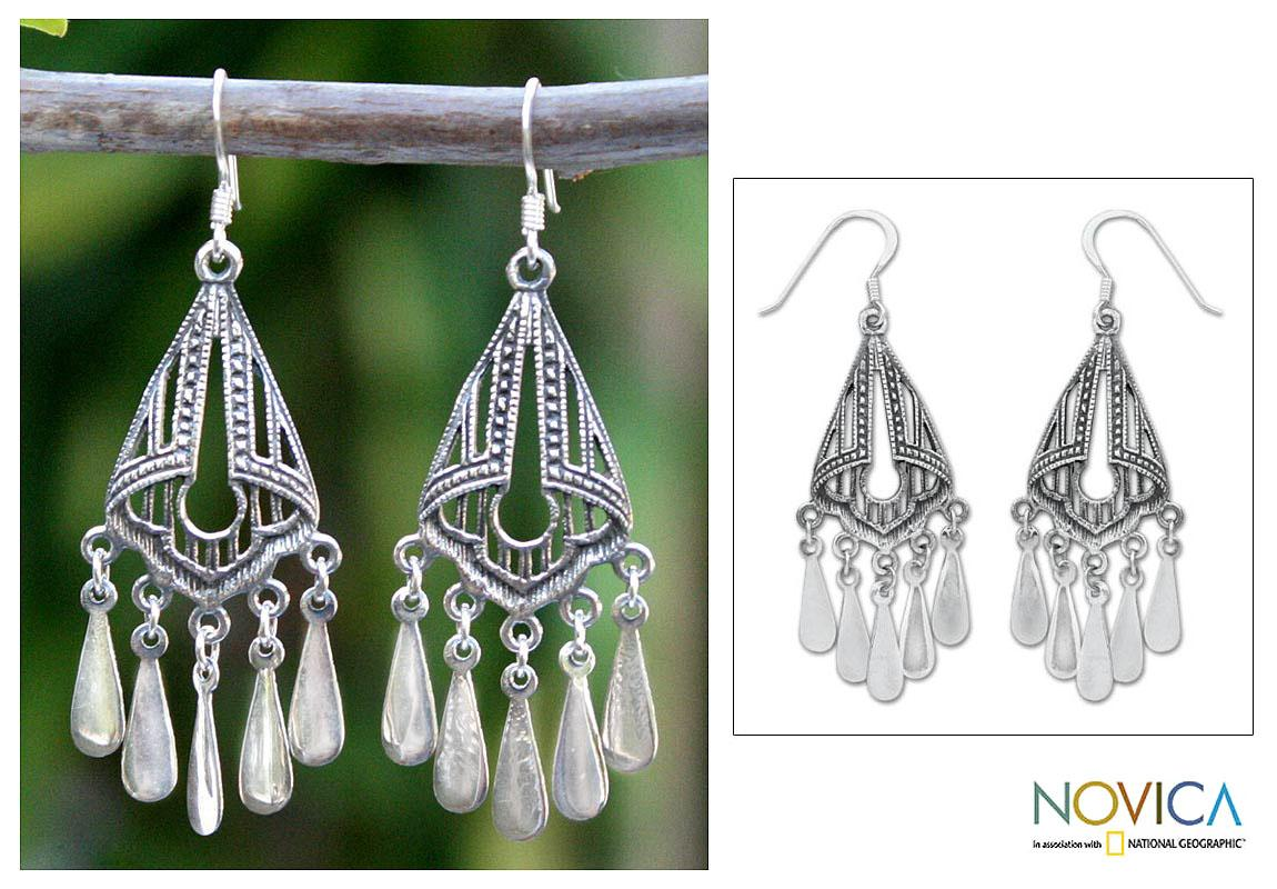 Sterling Silver 'Silk Shawl' Chandelier Earrings (Thailand)