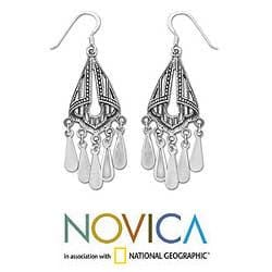 Sterling Silver 'Silk Shawl' Chandelier Earrings (Thailand) - Thumbnail 1
