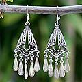 Sterling Silver 'Silk Shawl' Chandelier Earrings (Thailand)