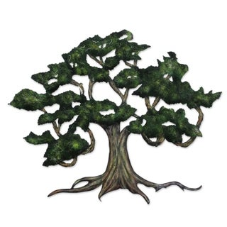 Hand Painted Steel Ancient Shade Tree Wall Art (Mexico)
