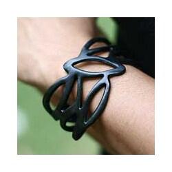Handmade Leather 'Licorice Nest' Bracelet (Indonesia)