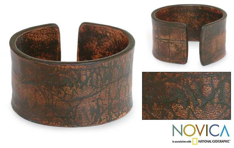 Leather 'Brown Reality' Bracelet (Indonesia)