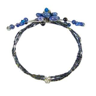 Handmade Lapis Lazuli 'Blue Bouquet' Wrap Bracelet (Thailand)