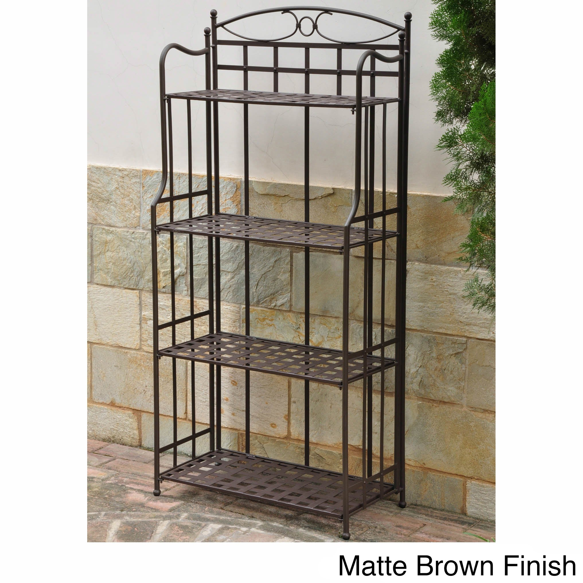 4 Tier Bakers Rack Metal Plant Shelf Stand Indoor Outdoor Antique Black Finish