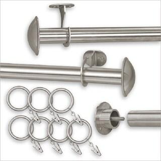 "Pinnacle Indoor/Outdoor Adjustable Curtain Rod (Option: 144-240"" - STAINLESS STEEL)"