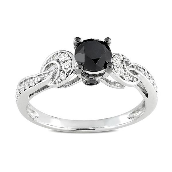 Miadora 10K White Gold 1Ct TDW Prong-set Black and White Diamond Ring