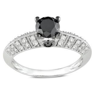 Miadora 10K White Gold 1Ct TDW Round-cut Black and White Diamond Ring