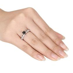 Miadora 10K White Gold 1Ct TDW Black and White Channel-set Diamond Ring