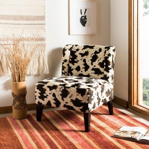 Shop Safavieh Cow Hide Print Lounge Chair Free Shipping