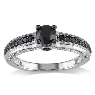 Miadora 10k White Gold 1 1/4ct TDW Black and White Round-cut Diamond Ring