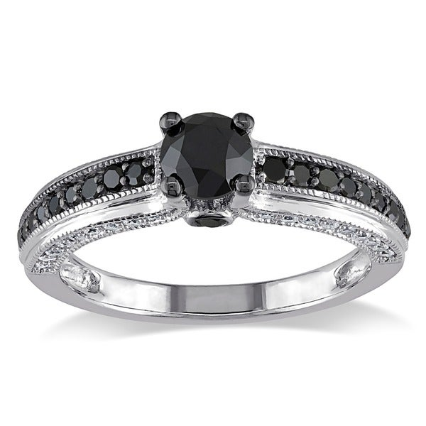 Miadora 10k White Gold 1 1/4ct TDW Black and White Round-cut Diamond Ring