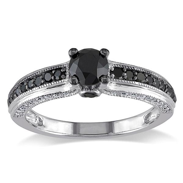 Miadora 10k White Gold 1 1/4ct TDW Black and White Round-cut Diamond Ring (G-H, I2-I3)