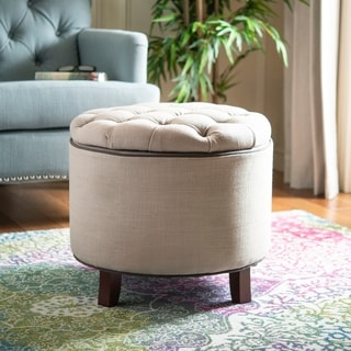 Safavieh Amelia Tufted Light Grey Storage Ottoman