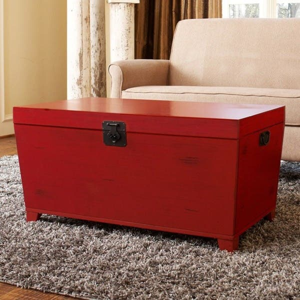 Angelo Home Red Pyramid Trunk Coffee Table Free