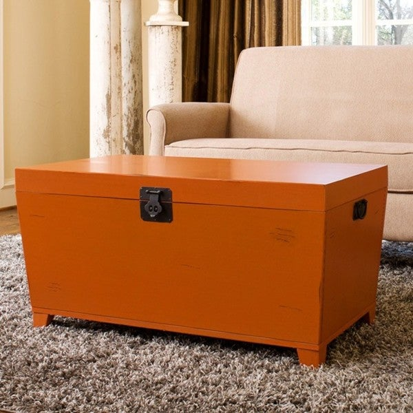 Angelohome orange pyramid trunk coffee table free for Overstock trunk coffee table