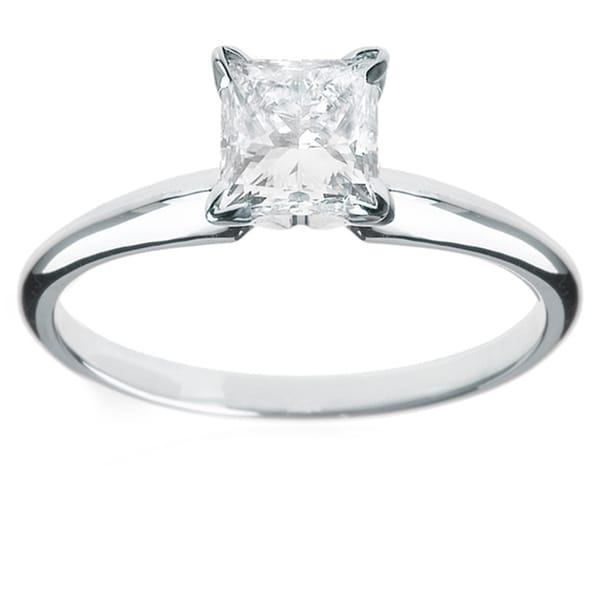 Montebello 14k White Gold 1 1/4ct TDW Princess-cut Diamond Solitaire Engagement Ring (H-I, I1-I2)