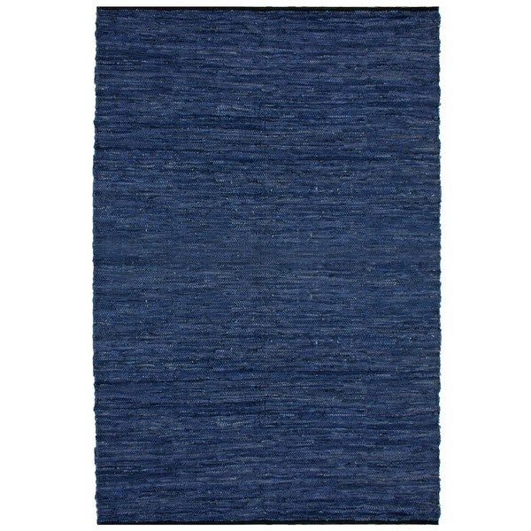 Hand-woven Matador Blue Leather Rug - 5' x 8'