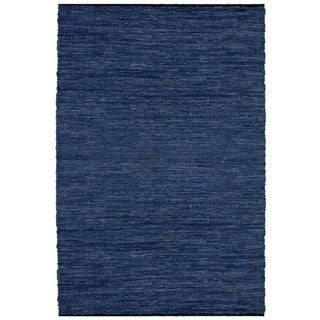 Hand-woven Matador Blue Leather Rug (5' x 8')