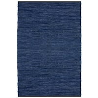 Hand-woven Matador Blue Leather Rug - 5' x 8'