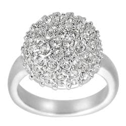 Journee Collection Silvertone Brass Pave-set CZ Dome Ring