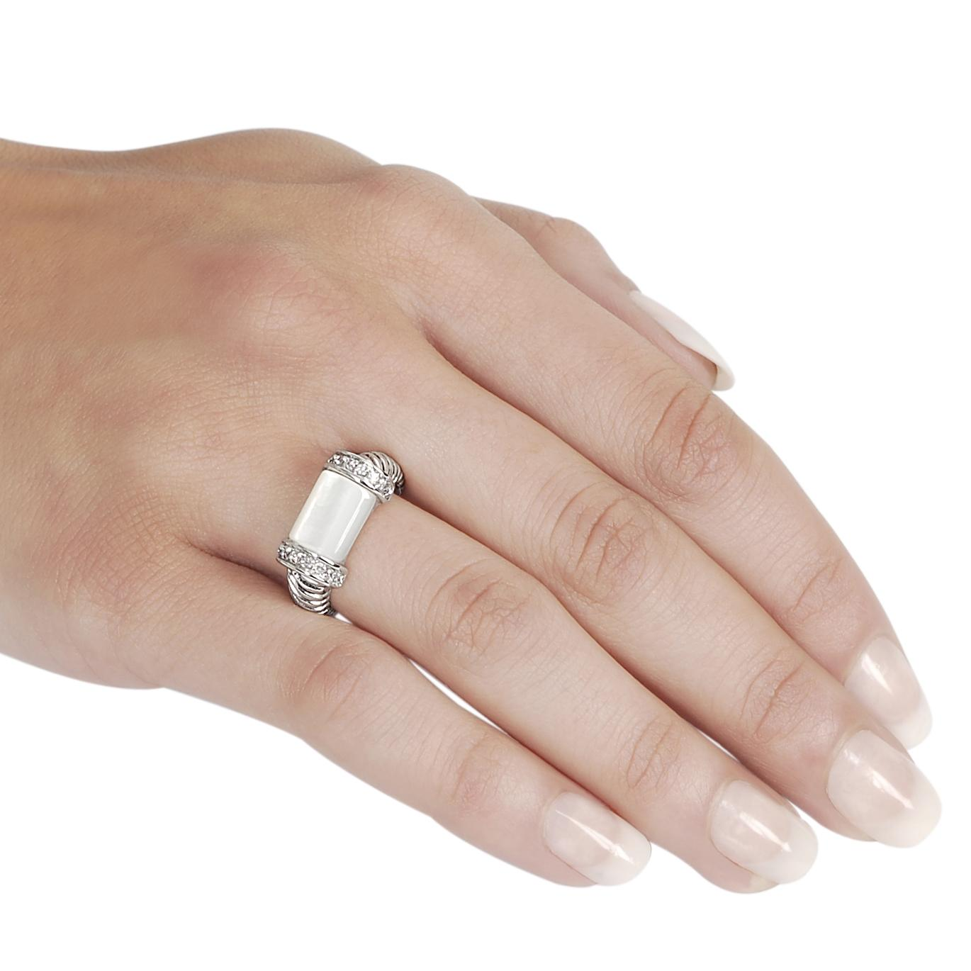 Journee Collection Silvertone CZ and Mother of Pearl Twist Ring