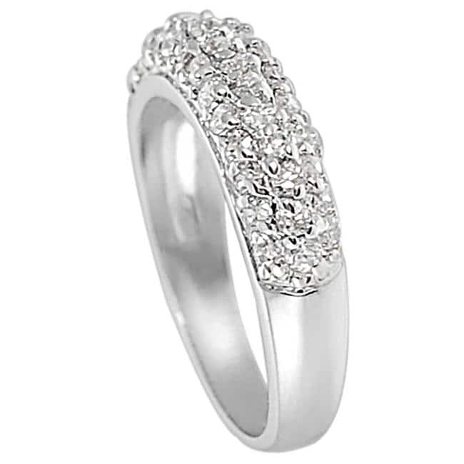 Journee Collection Silvertone Pave-set Cubic Zirconia Ring