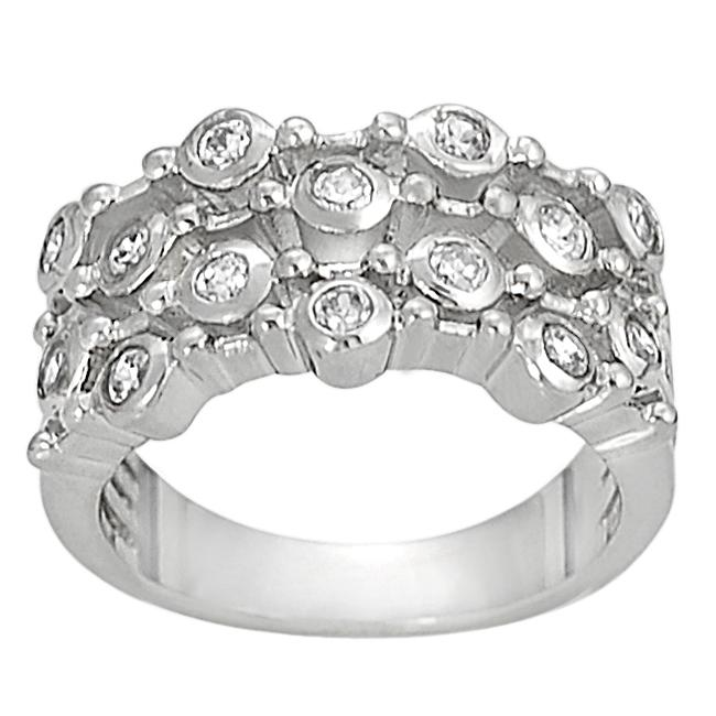 Journee Collection Silvertone Bezel-set Cubic Zirconia-accented Four Strand Ring