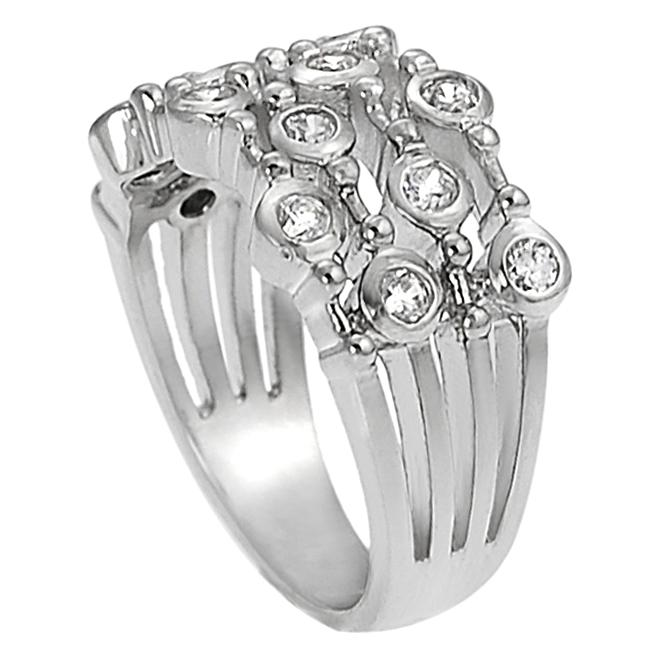 Journee Collection Silvertone Bezel-set Cubic Zirconia-accented Four Strand Ring - Thumbnail 1