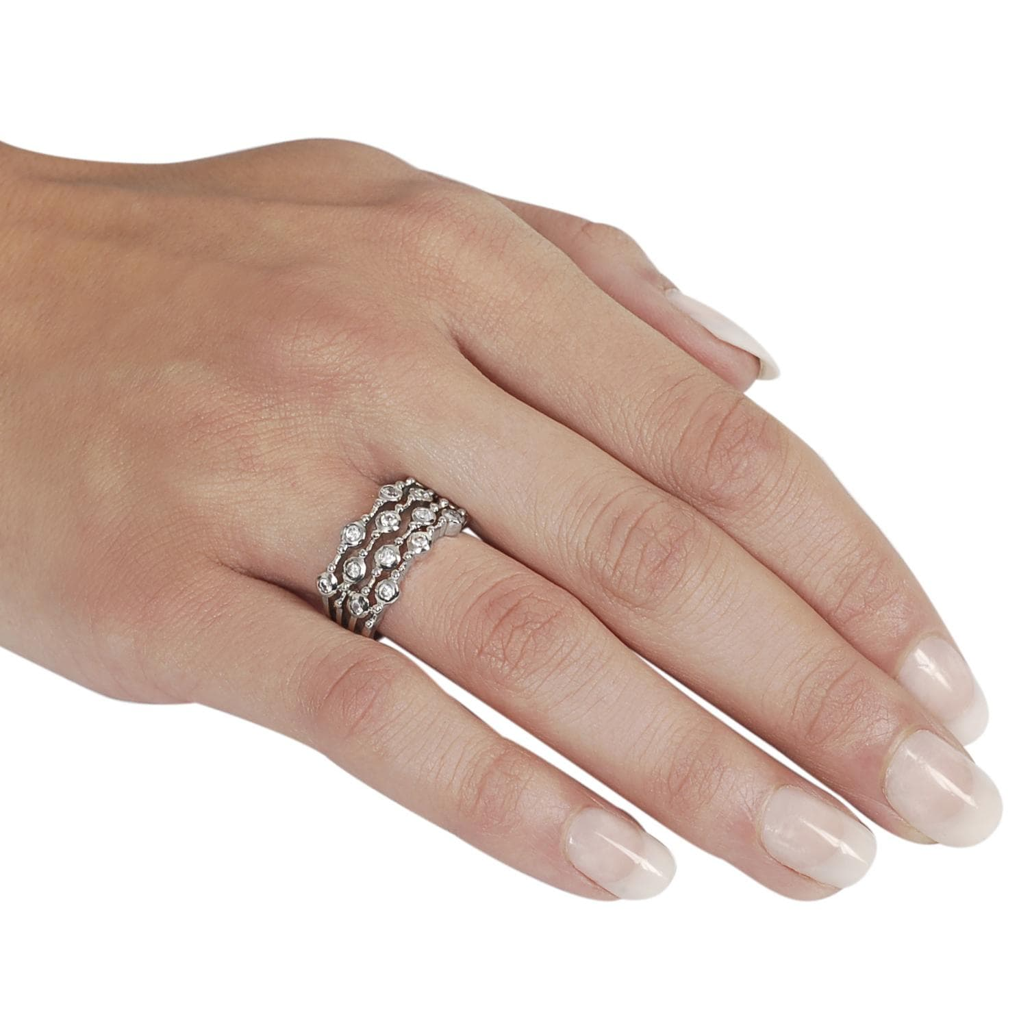 Journee Collection Silvertone Bezel-set Cubic Zirconia-accented Four Strand Ring - Thumbnail 2