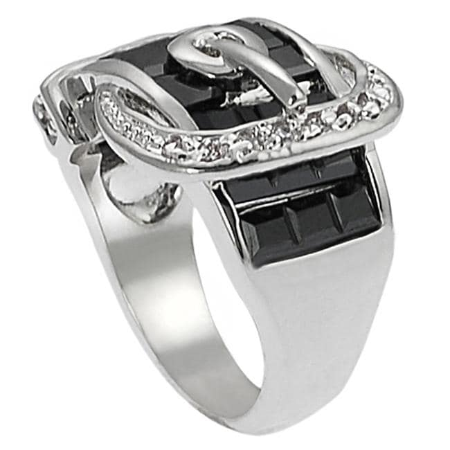 Journee Collection Silvertone CZ and Created Onyx Buckle Ring - Thumbnail 1