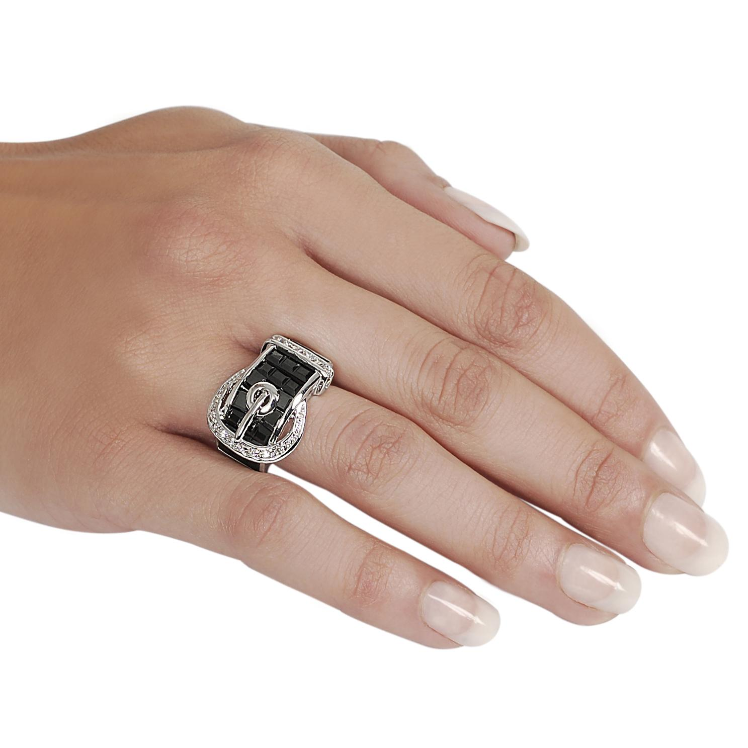 Journee Collection Silvertone CZ and Created Onyx Buckle Ring - Thumbnail 2