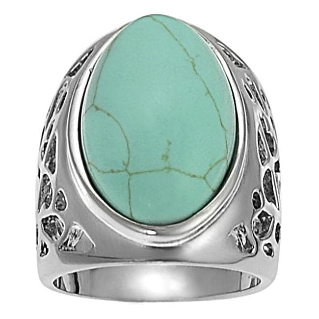 Silvertone Oval-shaped Turquoise Ring
