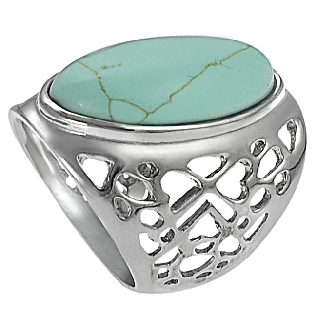 Silvertone Oval-shaped Turquoise Ring - Thumbnail 1