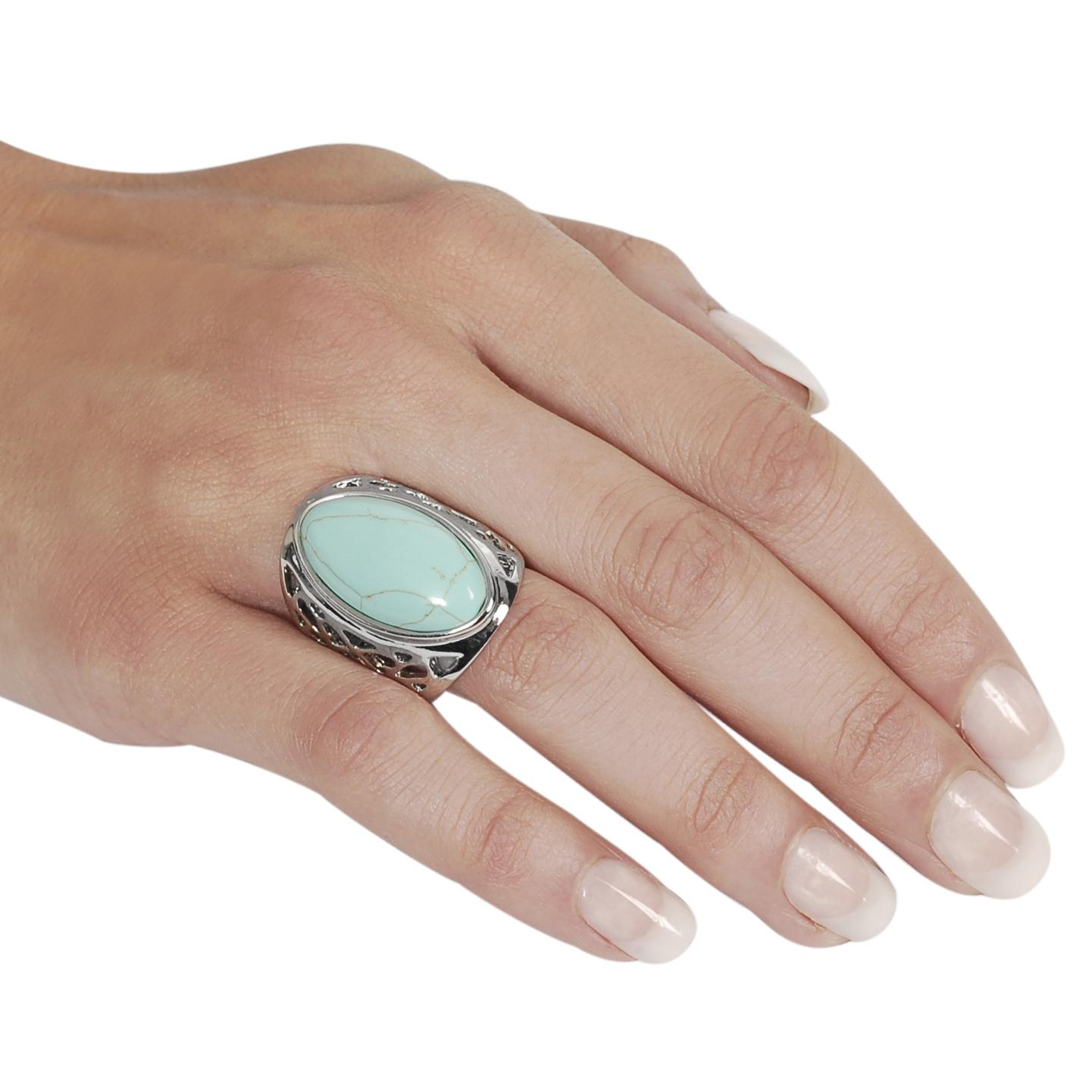 Silvertone Oval-shaped Turquoise Ring - Thumbnail 2